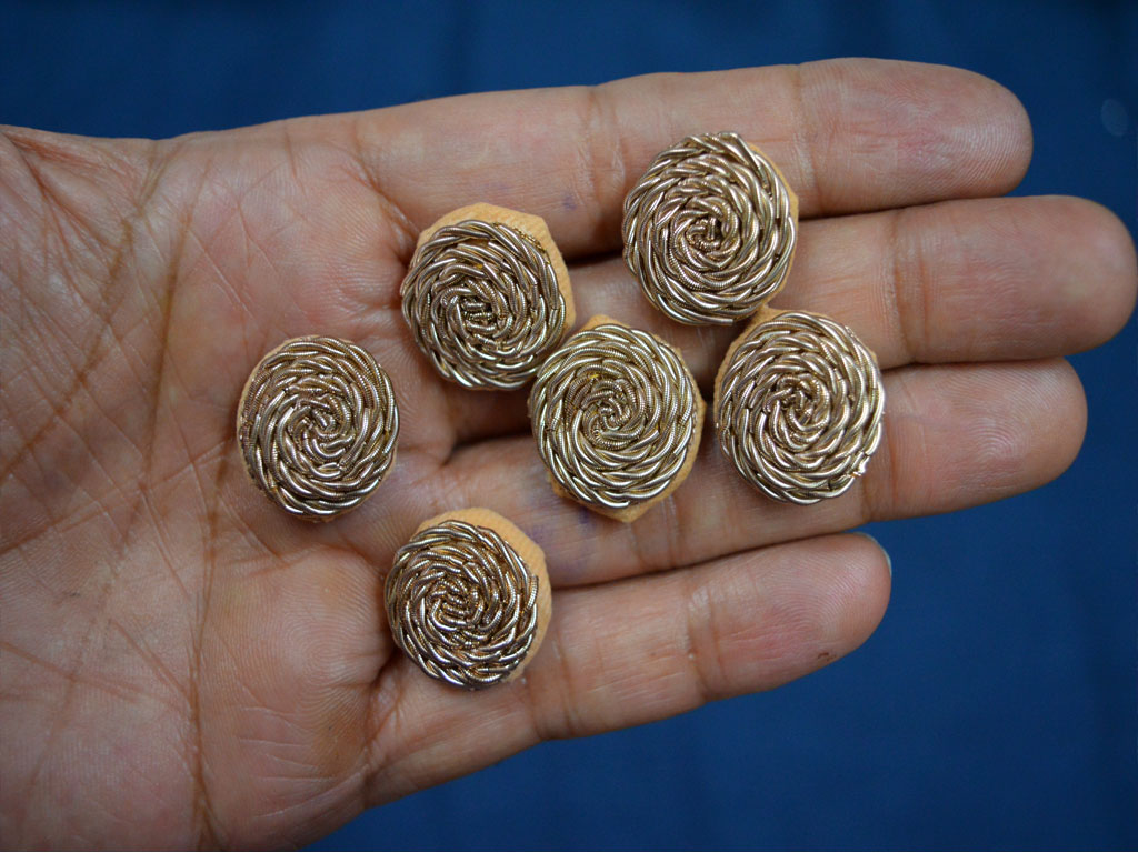 beautiful gold and beige decorative embroidered embellishment fancy handcrafted fabric cover zardozi floral design button craft supplies and tools