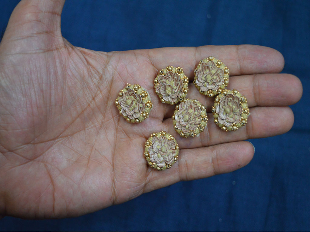 fancy decorative embellishment gold and beige embroidered floral beads and sequins design beautiful handcrafted fabric cover buttons handmade accessory
