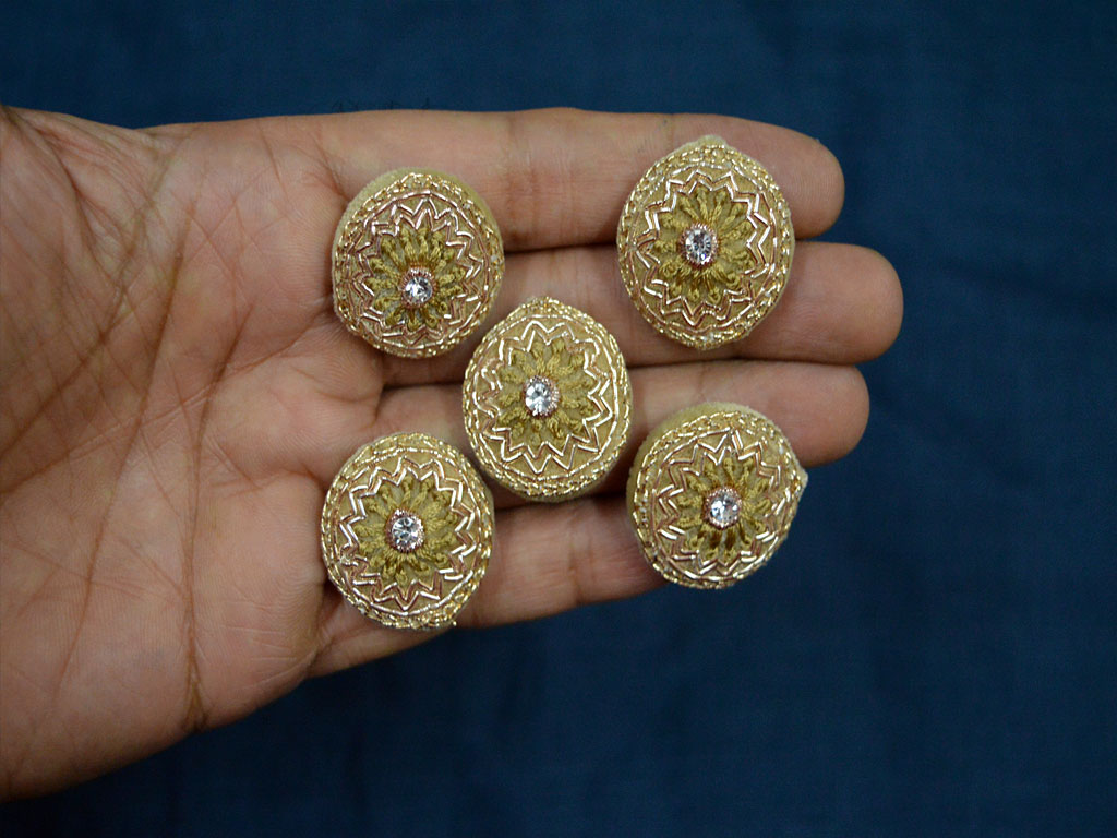Gold and beige embellishment decorative embroidered handcrafted wedding wear fancy and floral design zardozi buttons crafting supplies
