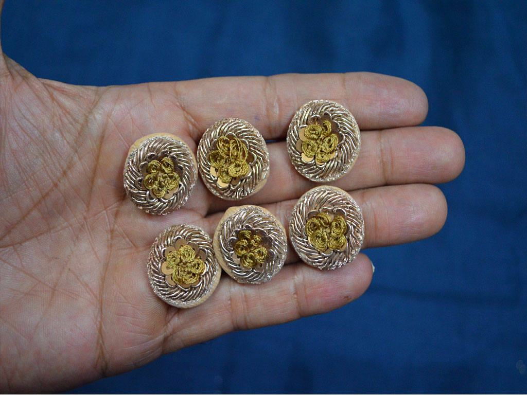 Beautiful decorative gold and beige embellishment fancy embroidered sequins zari thread handmade wedding wear floral design buttons craft supplies and tools