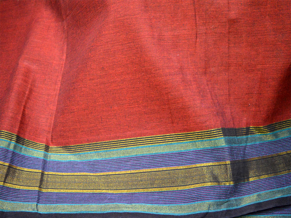 Handloom Cotton Fabric by yard South Indian Handwoven red cotton with border Crafting Sewing Summer Dress Crafting Sewing Blouses fabric kids wear cotton fabric