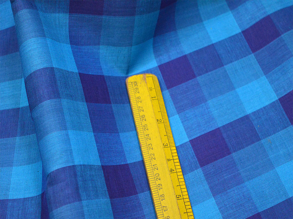 Blue Check Soft Cotton Fabric by the Yard Gypsy Summer Dresses Indian Quilting Sewing Crafting Apparel Drapery Tablecloth cotton fabric curtains making cotton fabric