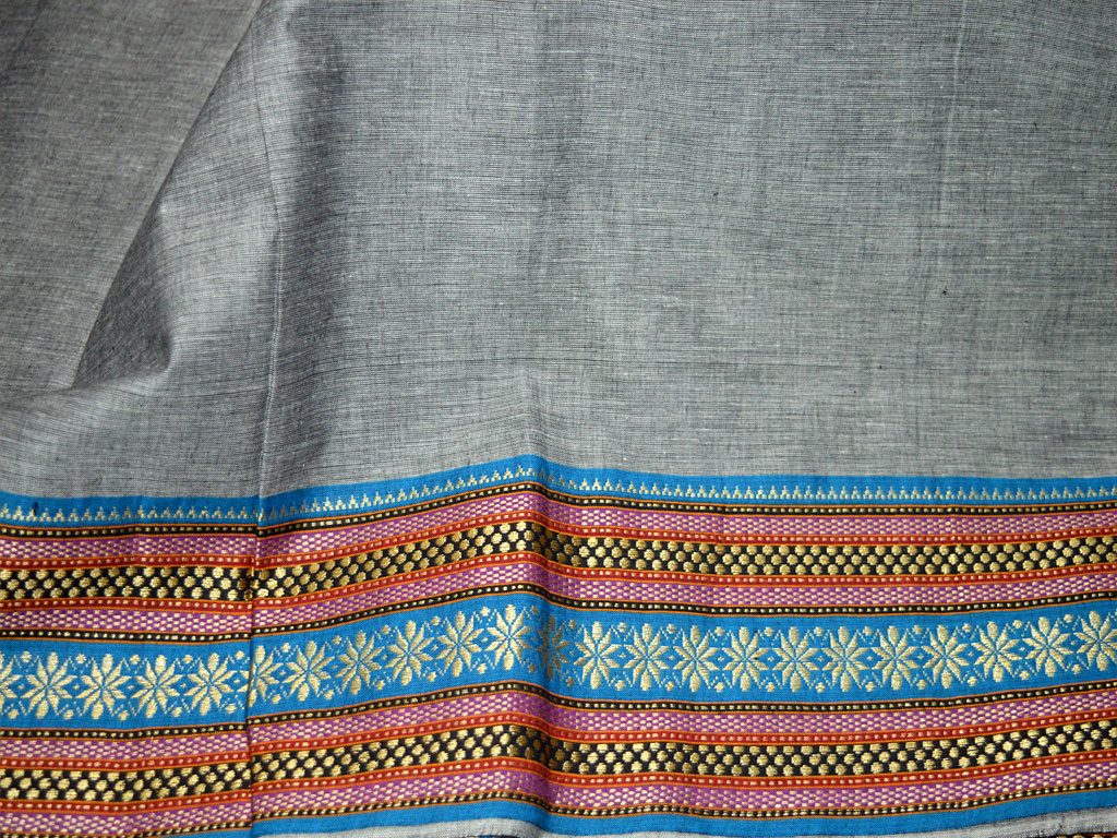 South Indian Homespun cotton fabric in Twin shades of Black and White Fabric