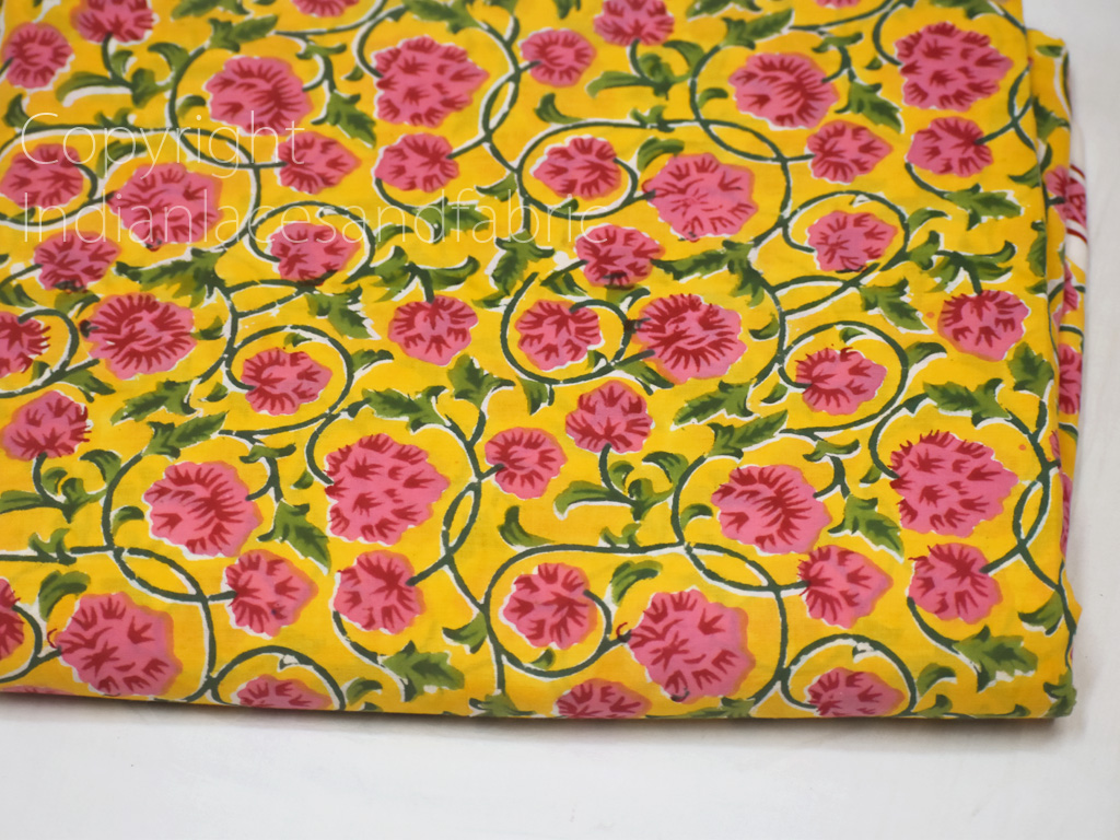 5 Yard 100/% cotton  Floral Print Hand Blocked Fabric Cotton Dress Material  Summer Dress Girl Kid Sewing Crafting Drapes