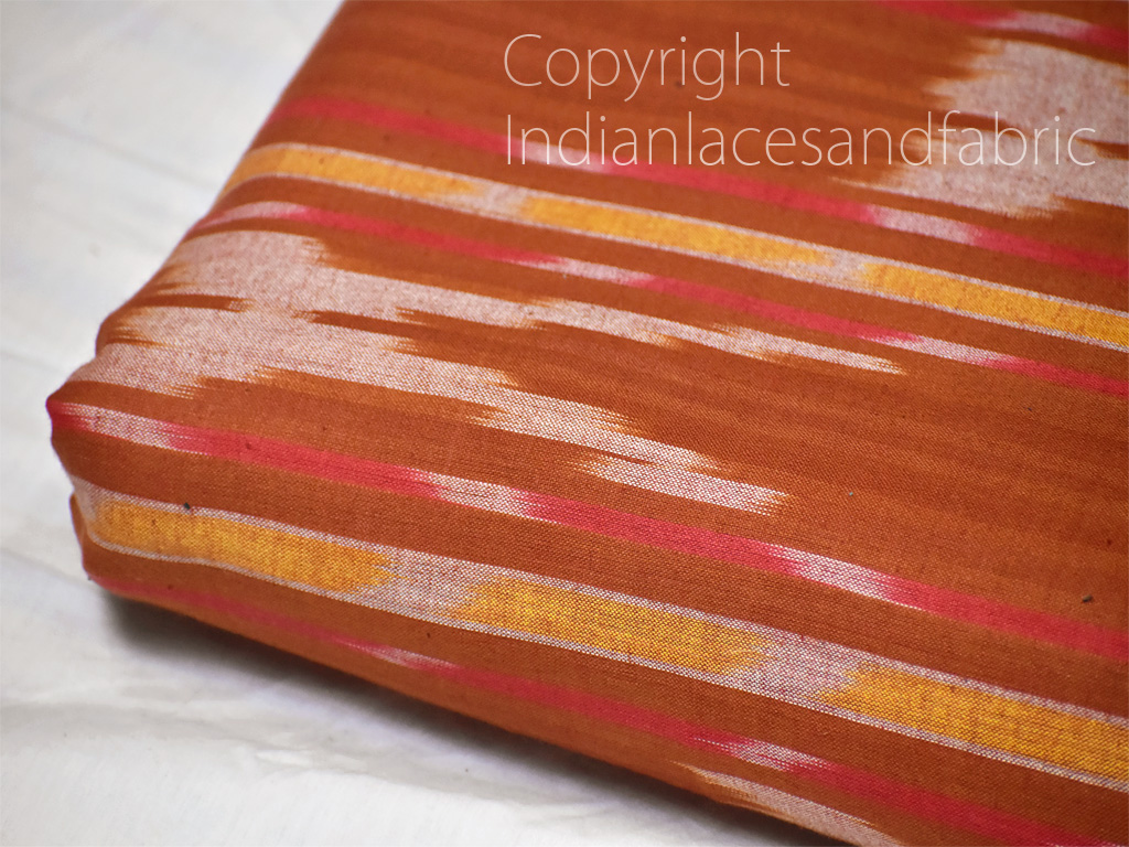 Brown Ikat Cotton Fabric by the yard Indian Handloom Handwoven Quilting Sewing Crafting Summer Dress Cushions Pillows Cover Apparel Fabric