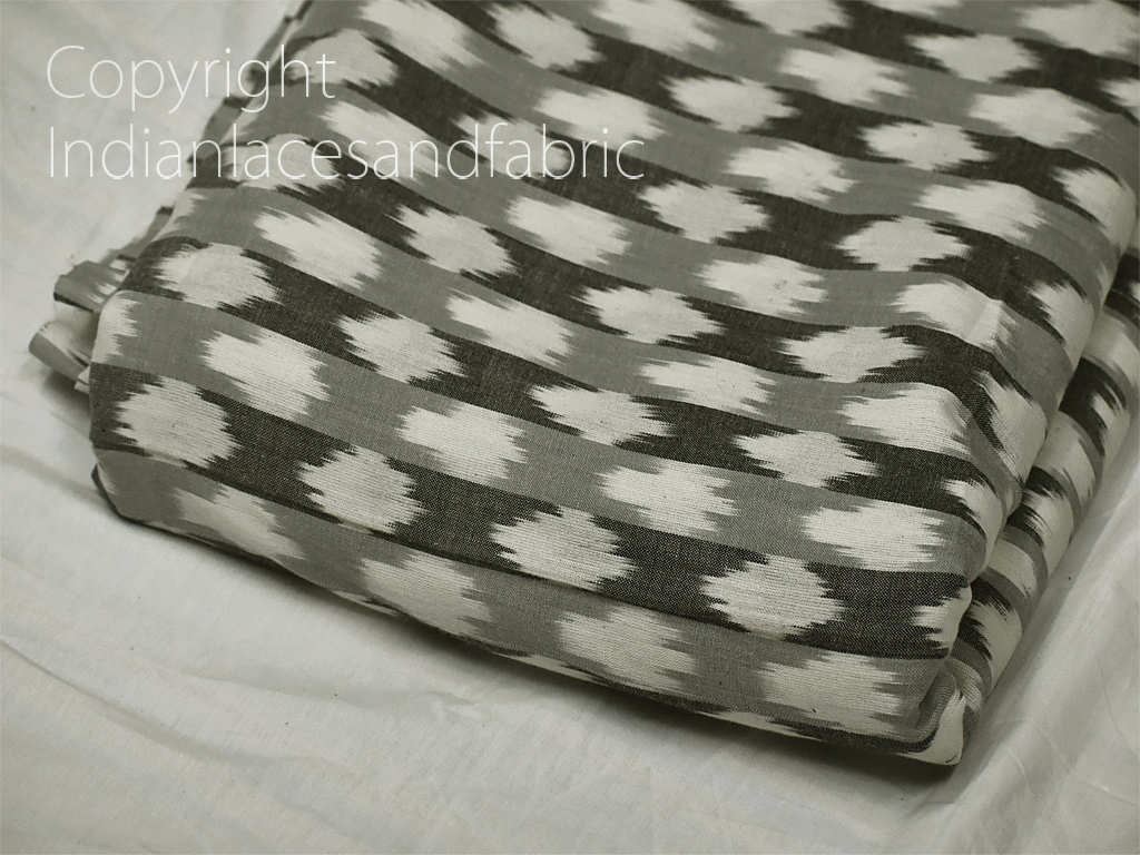 Grey Ikat Cotton Fabric by yard Homespun Indian Handloom Quilting Sewing Crafting Women Kids Summer Dress Shorts Cushions Home Decor Drapery