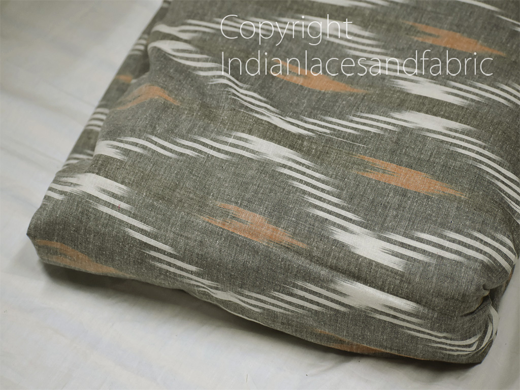 Grey Indian Ikat Cotton Fabric by the yard Handwoven Kids Summer Dresses Handloom Home Decor Quilting Crafting Sewing Cushion Covers Drapery