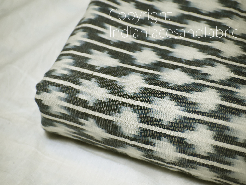 Dark Grey Indian Ikat Cotton Fabric by the yard Handwoven Summer Dress Handloom Home Decor Quilting Craft Sewing Cushions Drapery Curtains