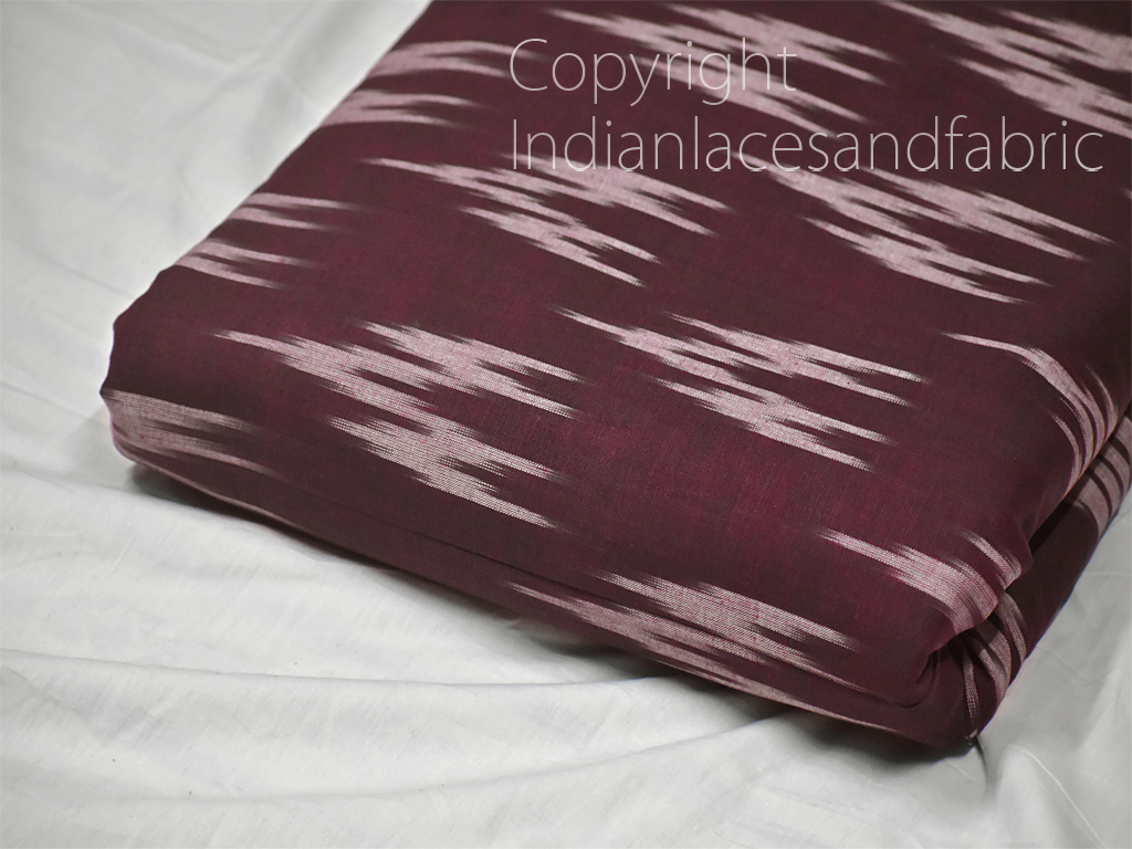Wine Indian Ikat Cotton Fabric by the yard Handwoven Summer Dresses Handloom Home Decor Quilting Crafting Sewing Cushions Drapery Curtains