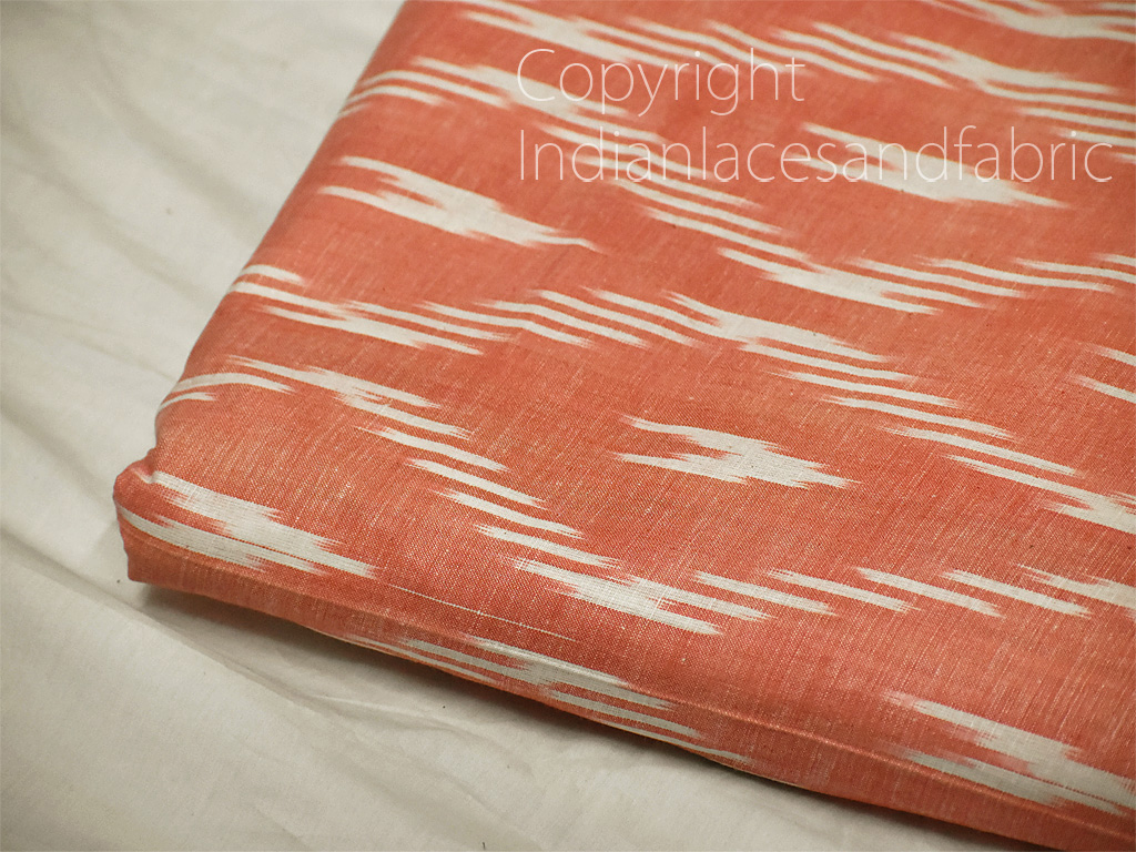 Peach Ikat Cotton Fabric by yard Homespun Indian Handloom Quilting Sewing Crafting Women Kids Summer Dresses Cushions Home Decor Draperies
