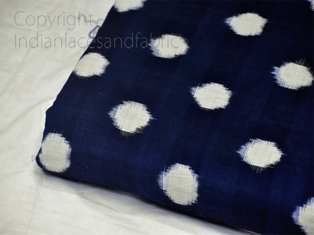 Navy Blue Ikat Fabric Yardage Handloom Upholstery Fabric Cotton sold by yard Double Ikat Home Decor Yarn Dyed Quilting Draperies Pillowcases