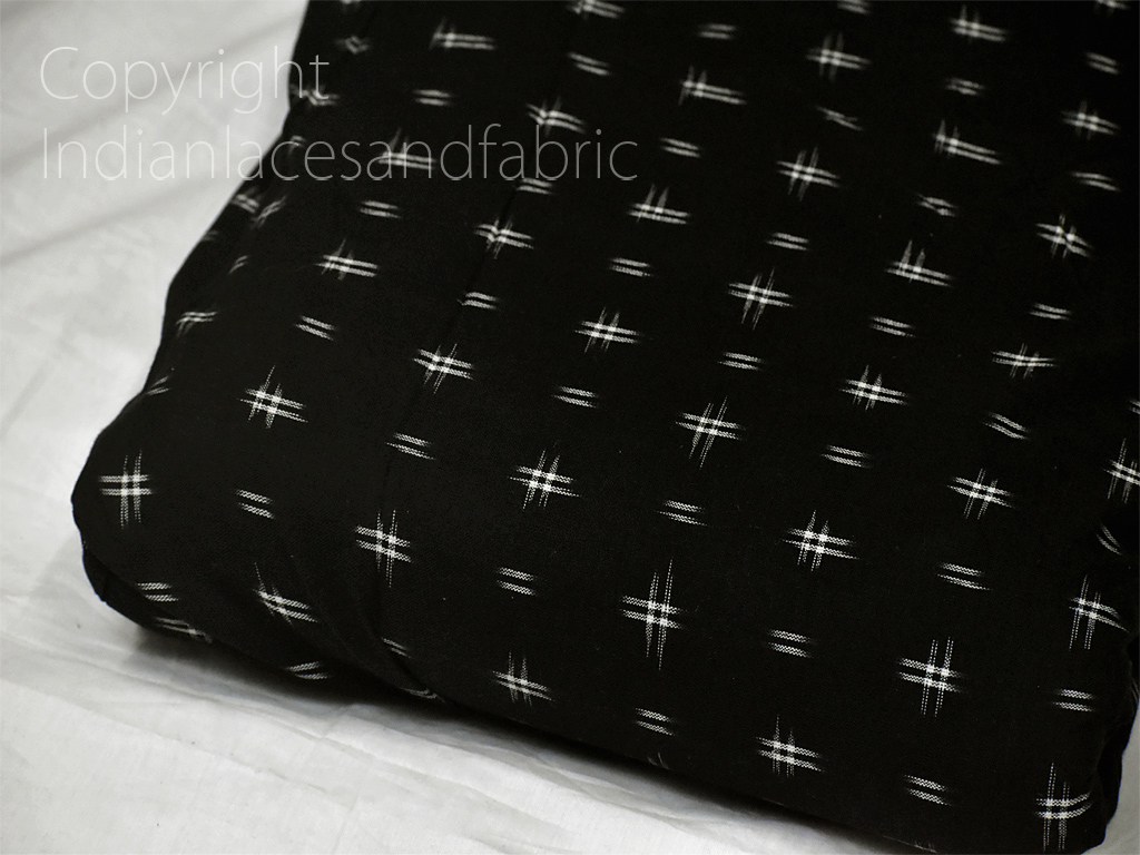Black Ikat Fabric Yardage Handloom Upholstery Fabric Cotton sold by the yard Double Ikat Home Decor Bedcovers Tablecloth Drapery Cushions