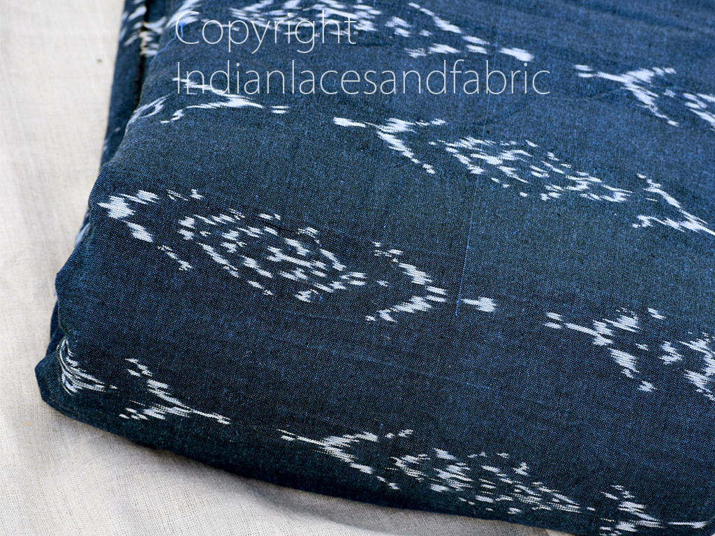 Teal Blue Ikat Cotton Yardage Handloom Ikat Fabric sold by yard Home Decor Yarn Dyed Quilting Draperies Cushions Cover Dress Material Pillowcases Table Runner Curtains