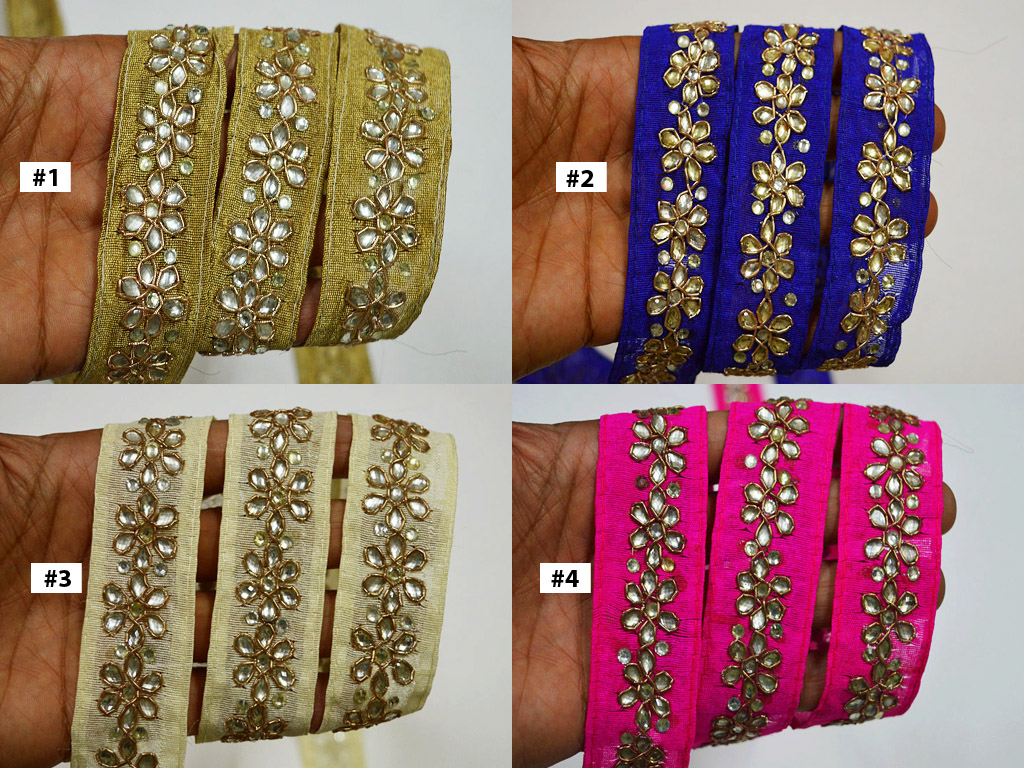 2 yard indian trim decorative kundan embellishment flower beaded border sewing crafting clothing accessories border card making trimming christmas supplies home décor ribbon