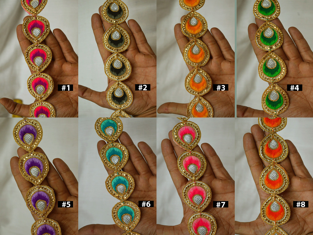 3 Yard Christmas Indian Trims Kundan Decorative Laces Saree Border Embellishment Metallic gown Ribbon Sari Trimmings Sewing Crafting Home Décor dresses Tape