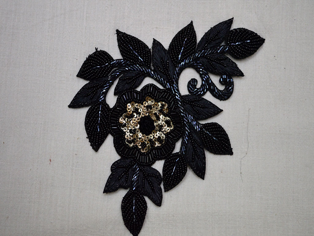 1 piece black beaded bullion applique indian sewing accessories dress patches crafts handcrafted appliques scrap booking designer patch for wedding dresses