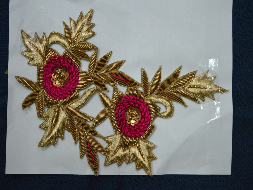 Floral Thread Embroidered Beaded Decorative Sewing Patches